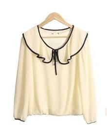 Vintage Collar Long-sleeved Chiffon Shirt