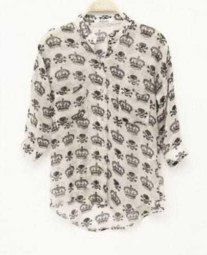 Skull Printed Round Neck Half-sleeved Chiffon Shirt White