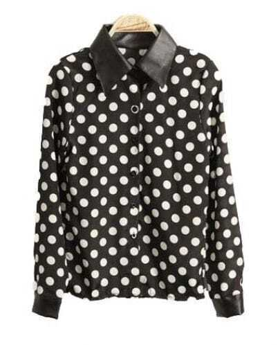 Stiching Leather Polka Dot Long-sleeved Shirt Black