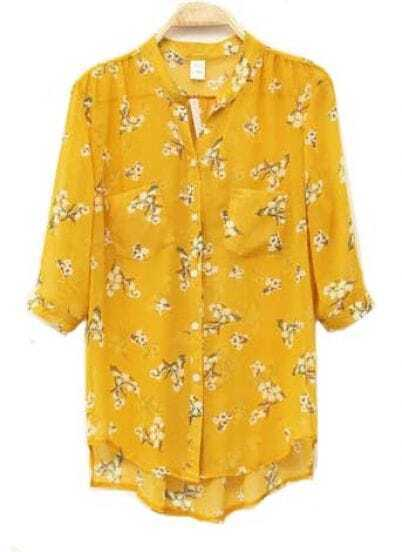 Flower Printed Half-sleeved Chiffon Shirt Yellow