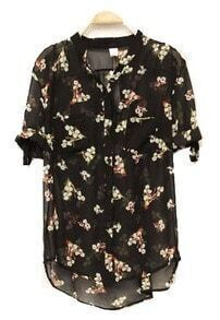 Flower Printed Half-sleeved Chiffon Shirt Black