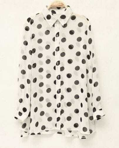 Polka Dot Loose Long-sleeved Chiffon Shirt White