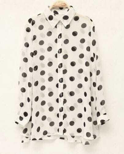 Polka Dot Loose Long-sleeved Chiffon Shirt White