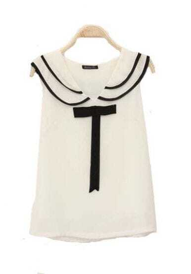 Lapel Sleeveless Chiffon Shirt