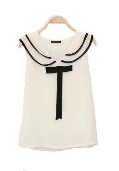Lapel Sleeveless Chiffon Shirt
