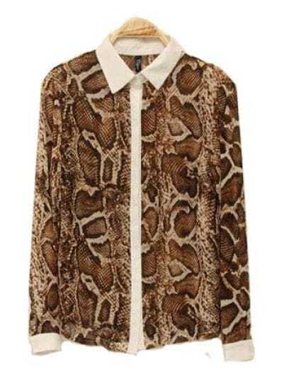 Lapel Long-sleeved Chiffon Shirt  Brown