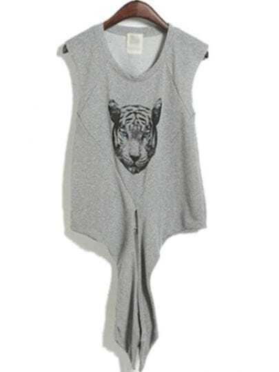 Grey Sweep Lacing Print Tank T-shirt