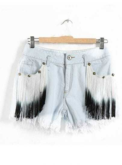 Light-blue Tassel Denim Shorts