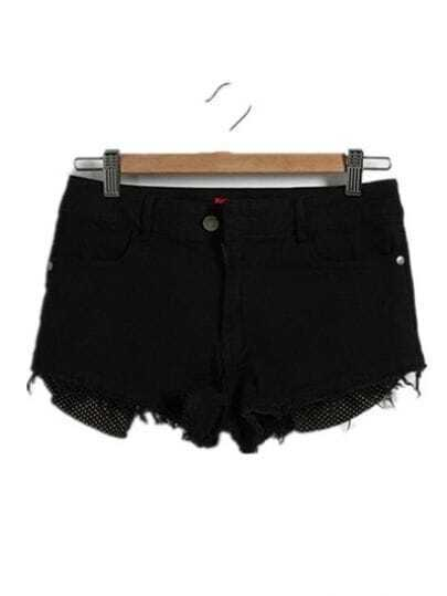 Black Show-star Pocket Wearout Shorts