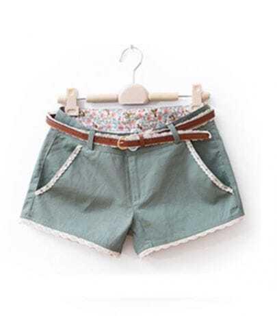 Green Beading Flower Sweep Shorts