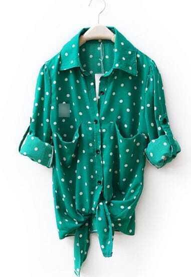 Green Sweep Knot Pot Print Shirt