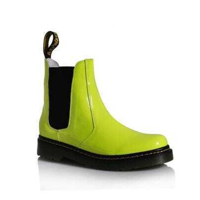 Fluorescent Green Patent Leather Martin Boots
