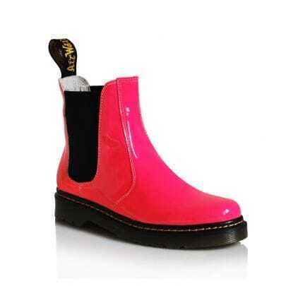 Fluorescent Rose Red Patent Leather Martin Boots