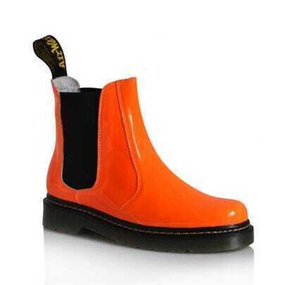 Fluorescent Orange Patent Leather Martin Boots