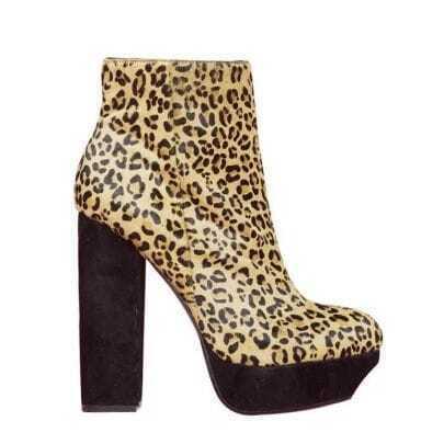 Leopard Suede Platform High Heel Boots