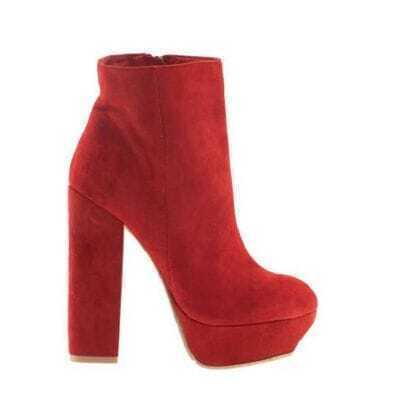 Red Suede Platform High Heel Boots