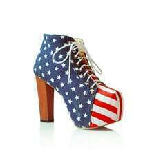 Flag Fabric High Heel Platform Ankle Boots