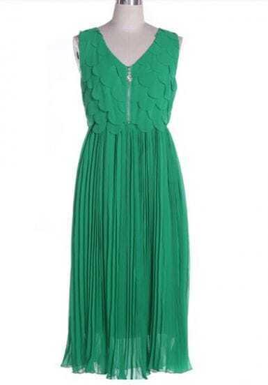 V Neck Pleated Chiffon Long Dress Green