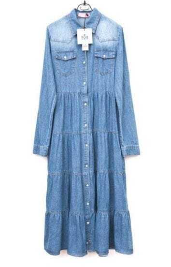 Lapel Long-sleeved Denim Long Dress