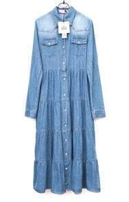 Lapel Long-sleeved Denim Long Dress