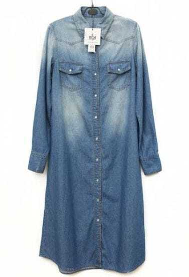 Button Long-sleeved Denim Dress