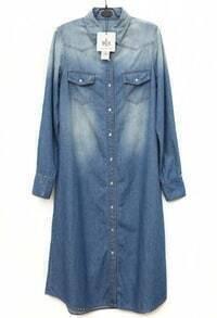 Button Long-sleeved Denim Dress