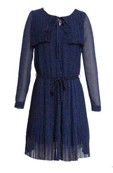 Polka Dot Long-sleeved Chiffon Bottoming Dress Blue