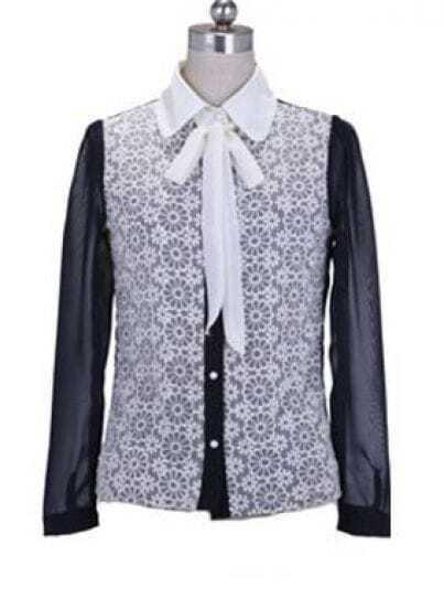 Bow Lapel Long-sleeved Chiffon Shirt Blue