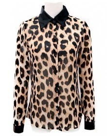 Stiching Leather Collar Leopard Chiffon Shirt