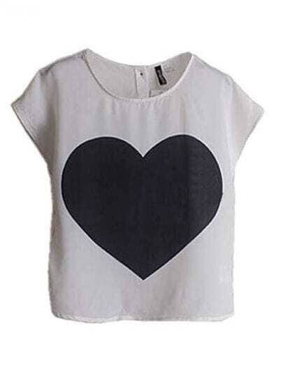 White Heart Print Short Sleeve Chiffon T-shirt with Buttons Back