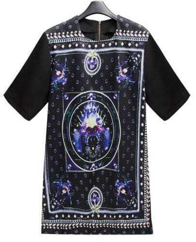 Black Modern Print Long Sleeve T-shirt