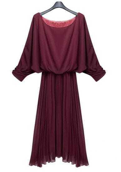 Wine-red Bat-wing Sleeve Pleated Dress
