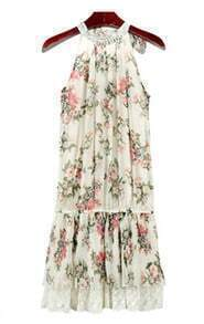 Apricot Print Beading Patchwork Lace Dress