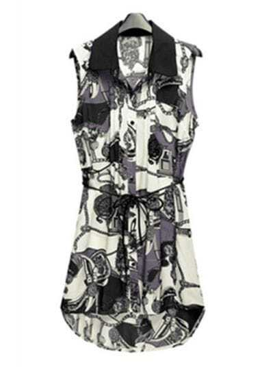 Black Print Asymmetrical Sweep Sleeveless Dress