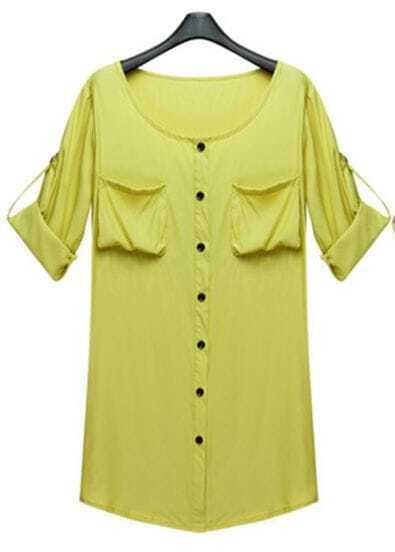 Yellow Modern Round Pocket Shirt