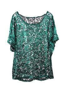 Green Gold Stamp Lace Loose Shirt