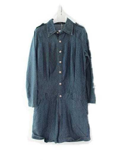 Dark-blue Denim Jumpsuit