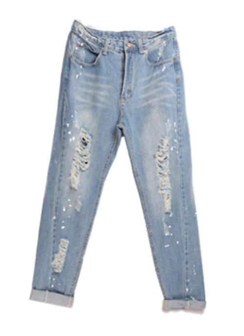 Blue Mile White Denim Hole Loose Jeans -SheIn(Sheinside)