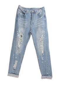 Blue Mile White Denim Hole Loose Jeans