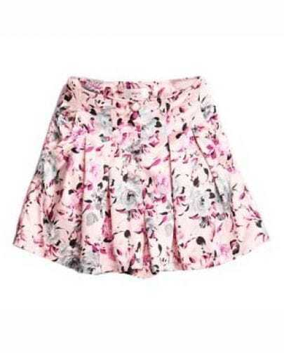 Vintage Pink Floral Silk Skirt