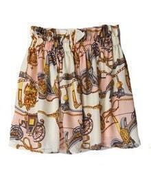 High Waist Silk Skirt Pink