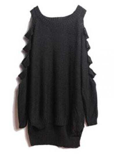 Solid Off The Shoulder Cotton Sweater Black