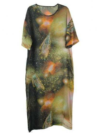 Galaxy Printing Bat-sleeved Loose Chiffon Dress Orange