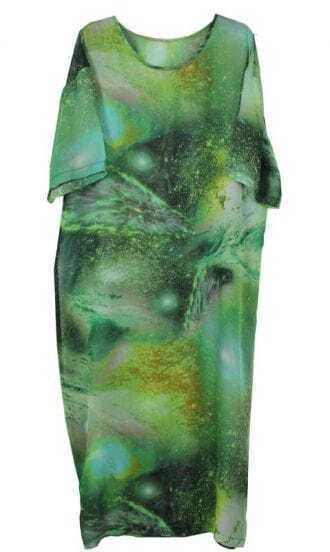 Galaxy Printing Bat-sleeved Loose Chiffon Dress Green