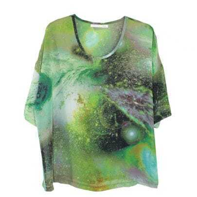 Green Galaxy Print Chiffon T-shirt