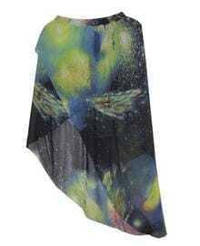 Galaxy Print Asymmetric Skirt Green