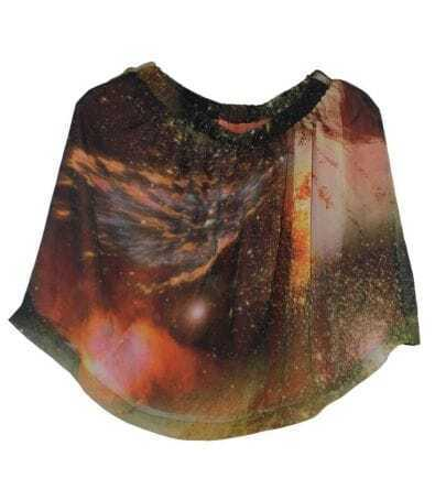 Galaxy Print Mini Skirt Coffee