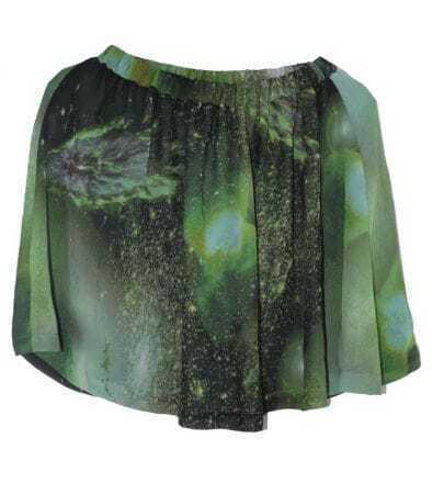 Galaxy Print Irregular Mini Skirt Green