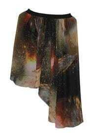 Galaxy Print Chiffon Asymmetric Skirt Coffee