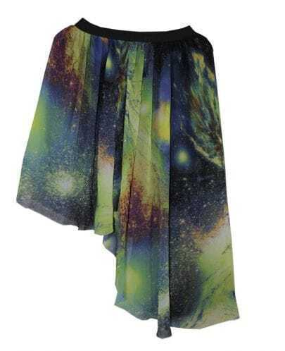Galaxy Print Chiffon Asymmetric Skirt Green